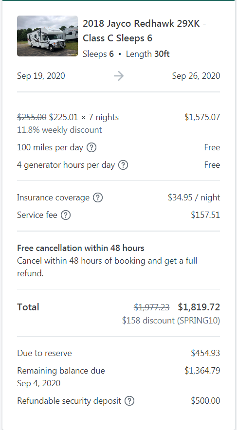 cost of week long RV vacation