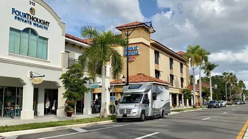 rental-RV-in-a-hotel-parking-lot