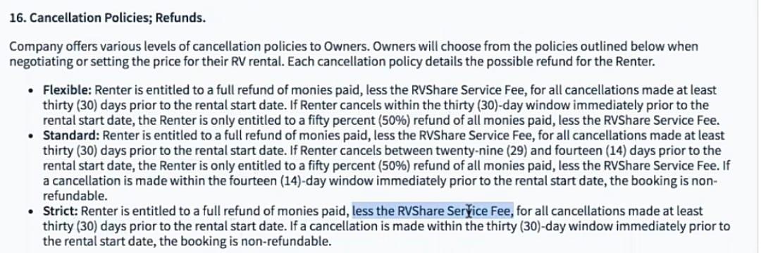 RV rental cancellation policy rv share