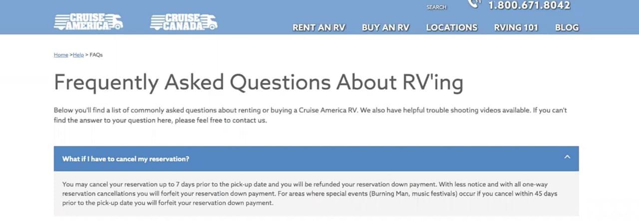 RV rental cancellation policy cruise america