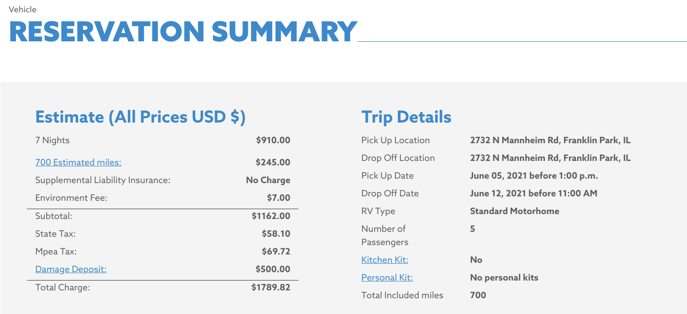 Cost of an RV Rental Trip - Cruise America
